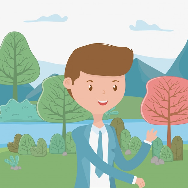 Man cartoon in the park Free Vector