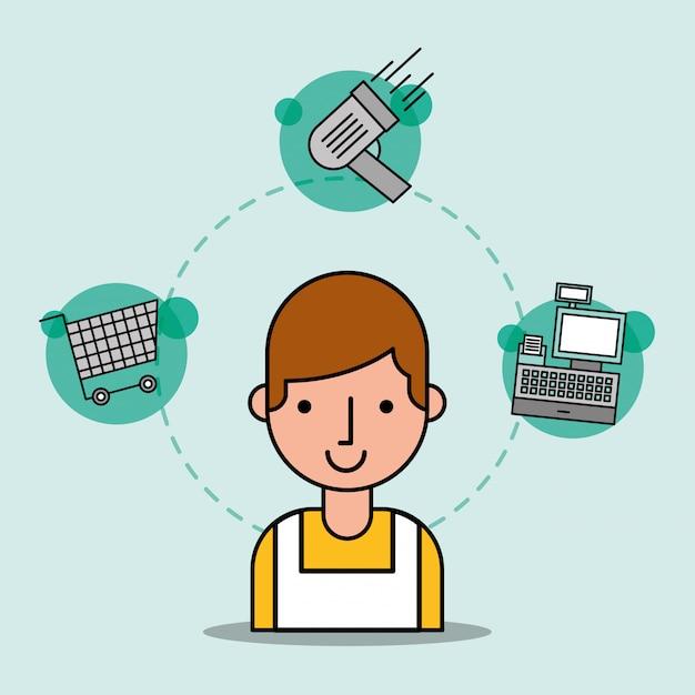 Man cartoon salesman supermarket worker shopping cart scanner and cash register Free Vector