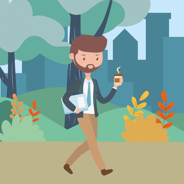 Man cartoon with coffee mug in the park Free Vector