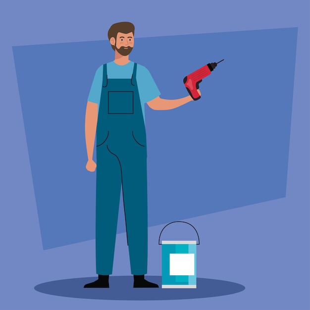Man cartoon with construction drill and paint bucket design of remodeling working and repairing Premium Vector