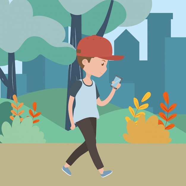 Man cartoon with smartphone in the park Free Vector