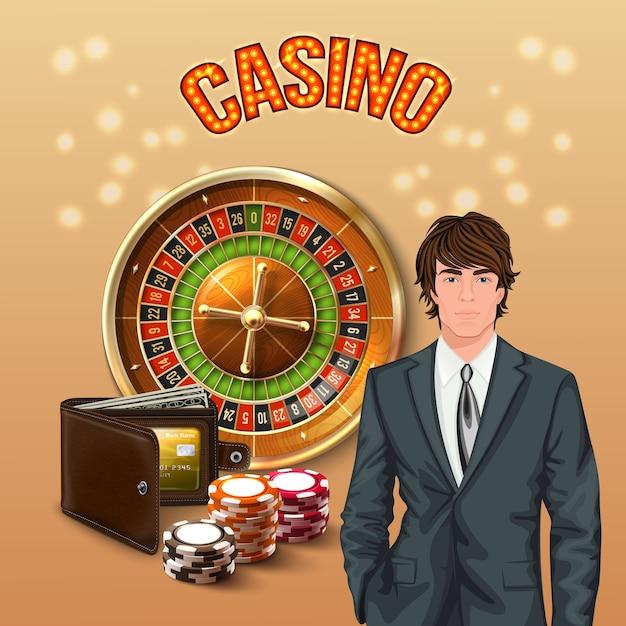 Uomo nella composizione realistica del casinò con il titolo del casinò incandescente arancione grande e il giocatore fortunato Vettore gratuito