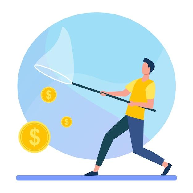 バタフライネットでお金を引く男。現金、硬貨、ドルフラットベクトルイラスト。金融、収入、収入 無料ベクター
