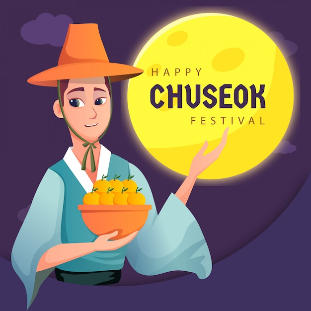 A man celebrating happy korean card Premium Vector