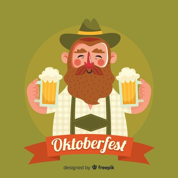 Man celebrating oktoberfest with flat design Free Vector