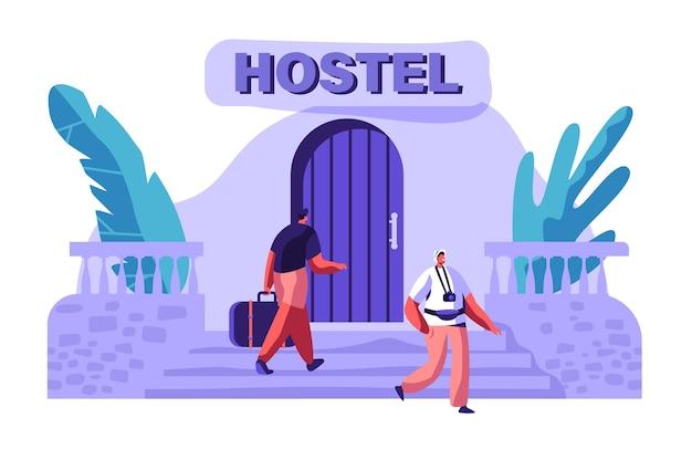 남자 캐릭터가 가방과 함께 호스텔 건물에 도착합니다. 국제 여행 개념. 카메라 밖에 서 걷는 관광. 휴일 플랫 만화 벡터 일러스트 레이 션을위한 사람들 예약 호텔 프리미엄 벡터