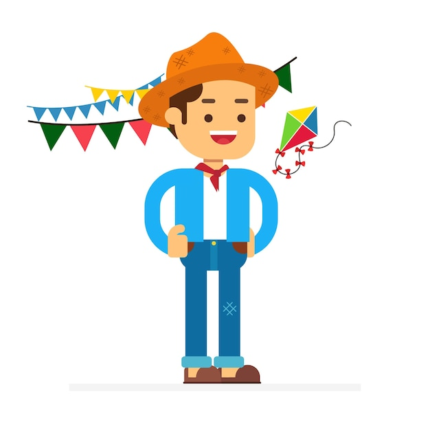 Man character avatar icon.festa junina Premium Vector