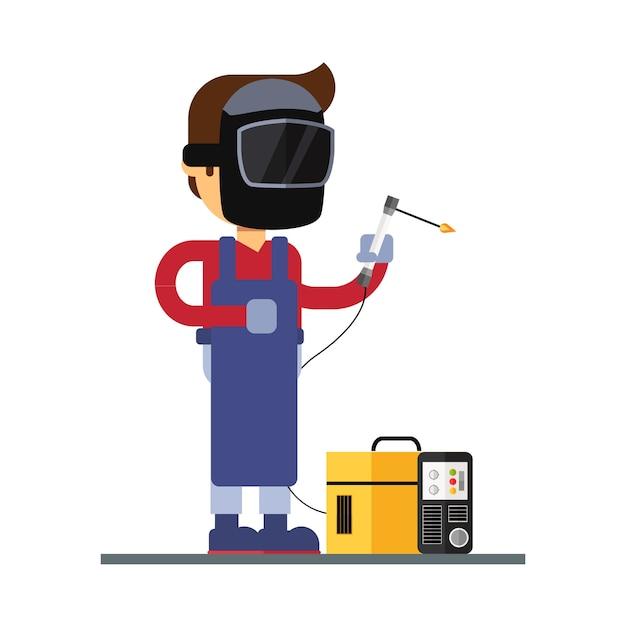 Man character avatar icon. welder character Premium Vector