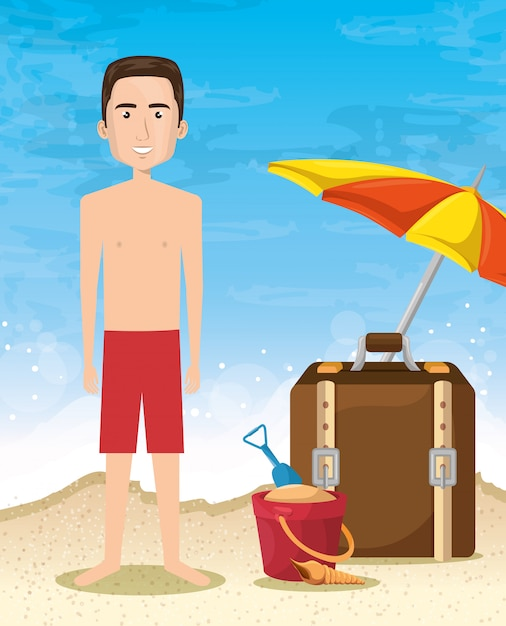 Man character on the beach Free Vector