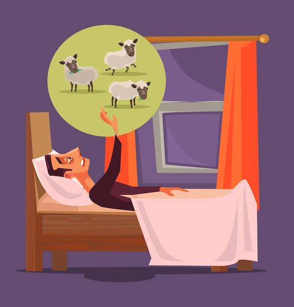 男のキャラクターは眠ることができず、羊の不眠症の概念の漫画イラストを数えることができません Premiumベクター