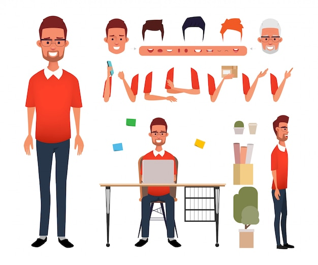 Man character freelance job creation for animation mouth. Premium Vector