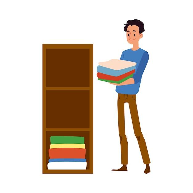男性キャラクターは、妻の家事を手伝う場所に新鮮な洗濯物を置きます-。現代の社会人の義務。 Premiumベクター