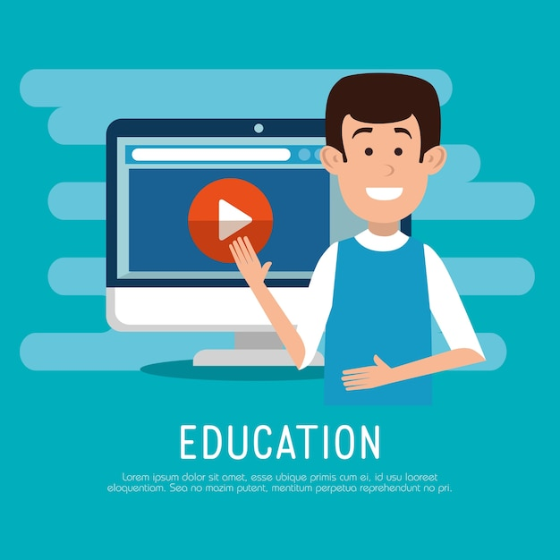Man character with education on line icons Premium Vector