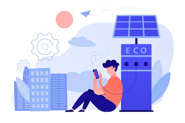 Man charges smartphone from solar recharge station. ecological renewable charging systems, smart bus stops, iot and smart city concept. vector illustration Free Vector