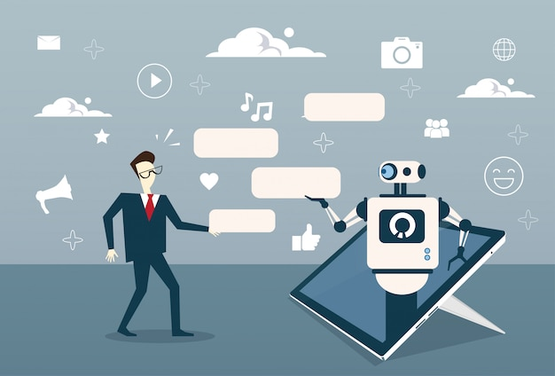 Man chatting with chat bot from digital tablet or cell smart phone digital support technology Premium Vector
