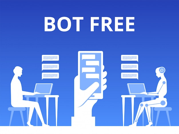 Man chatting with chat bot illustration Premium Vector