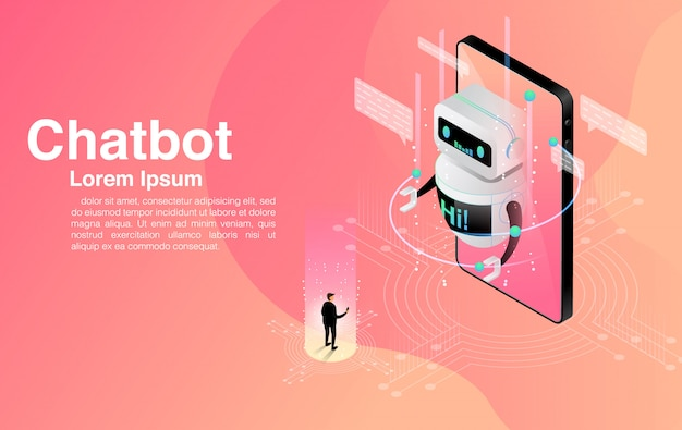 Man chatting with chatbot application. dialog help service. ai and business iot . Premium Vector