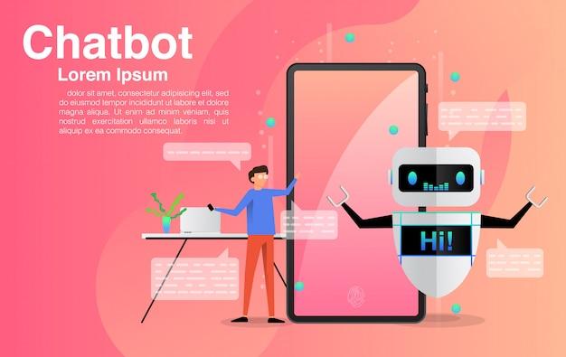 チャットボットアプリケーションでチャットする男性。 Premiumベクター