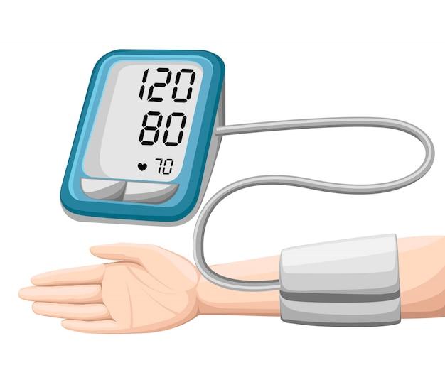 男は動脈血圧をチェックします。デジタルデバイス眼圧計。医療機器。高血圧、心臓を診断します。健康状態の測定、監視。ヘルスケアの概念。図。 Premiumベクター
