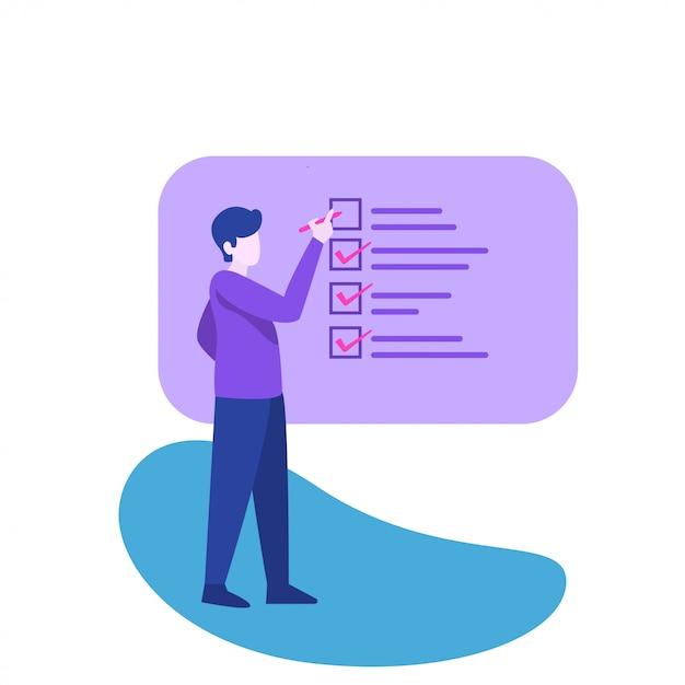 Man and checklist illustration Premium Vector
