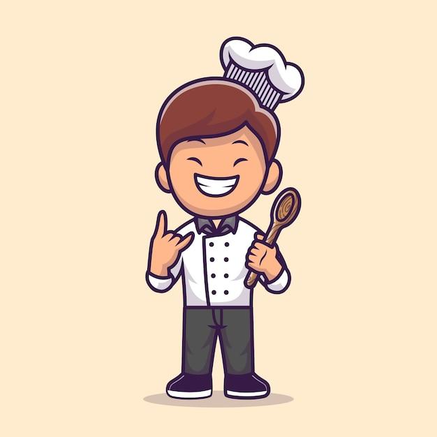 Человек шеф-повар готовит иллюстрации шаржа Бесплатные векторы