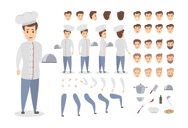 Man chef set. poses and emotions of man. Premium Vector