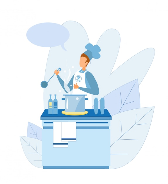 Man chef showing cooking master class Premium Vector