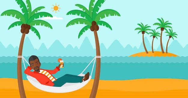 Man chilling in hammock Premium Vector
