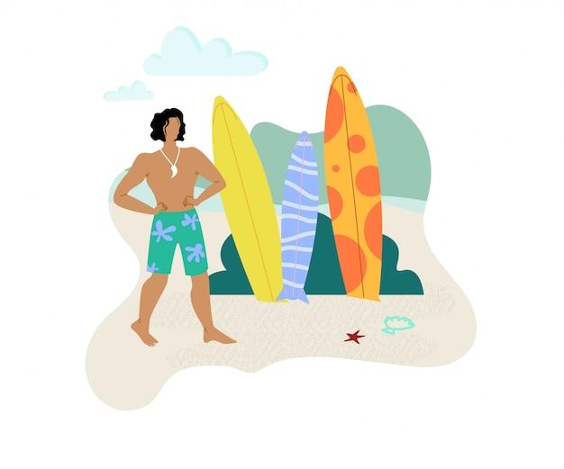 Man choosing surf board flat vector character Premium Vector