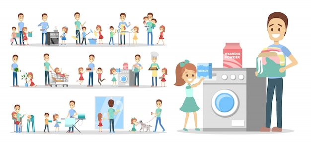 Man clean home and doing a housework with children set. househusband doing everyday domestic routine and kids help him.    illustration Premium Vector