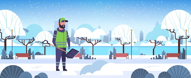 プラスチック製のシャベル除雪冬の街路清掃サービスの概念を使用して男クリーナー都市雪公園風景フラット全長水平ベクトル図 Premiumベクター