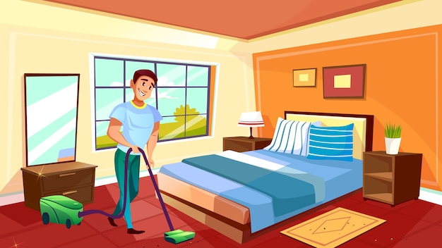 Man cleaning room illustration of househusband or college boy with vacuum cleaner Free Vector