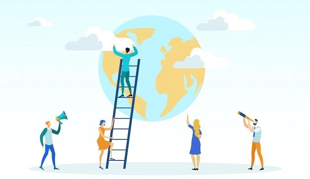 Man climbing ladder, getting to top reaching goal, Premium Vector