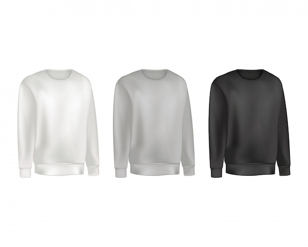 Man clothing set of sweatshirt and raglan sweater gray and black color. Premium Vector