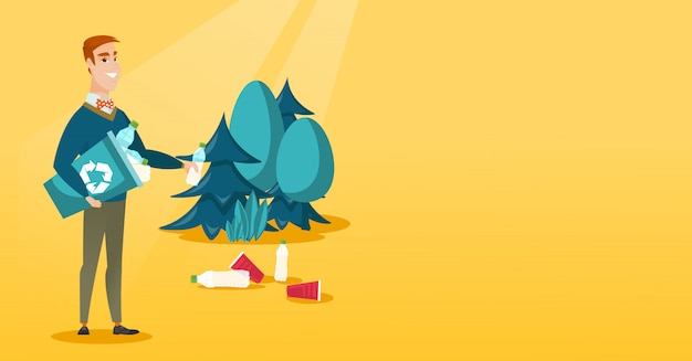Man collecting garbage in forest. Premium Vector