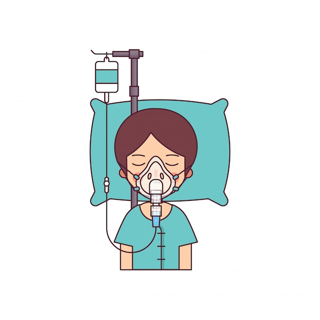 Man in coma lying in bed in the hospital Premium Vector