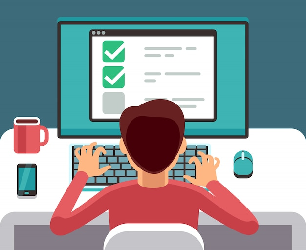 Man at computer filling online questionnaire form. survey vector flat concept. feedback and questionnaire online, survey and report illustration Premium Vector