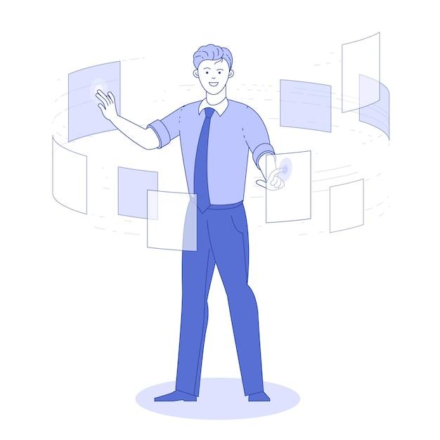 マンコンサルティングドキュメント、管理データシステムビジネステクノロジーの概念。 Premiumベクター
