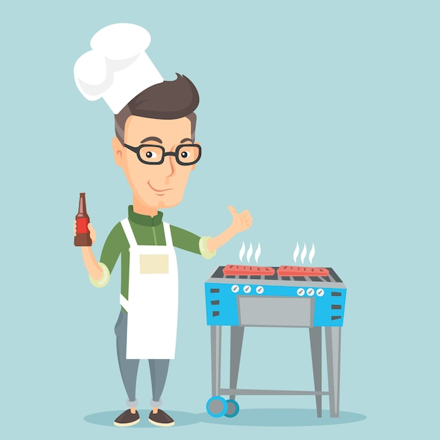 Man cooking steak on barbecue grill. Premium Vector