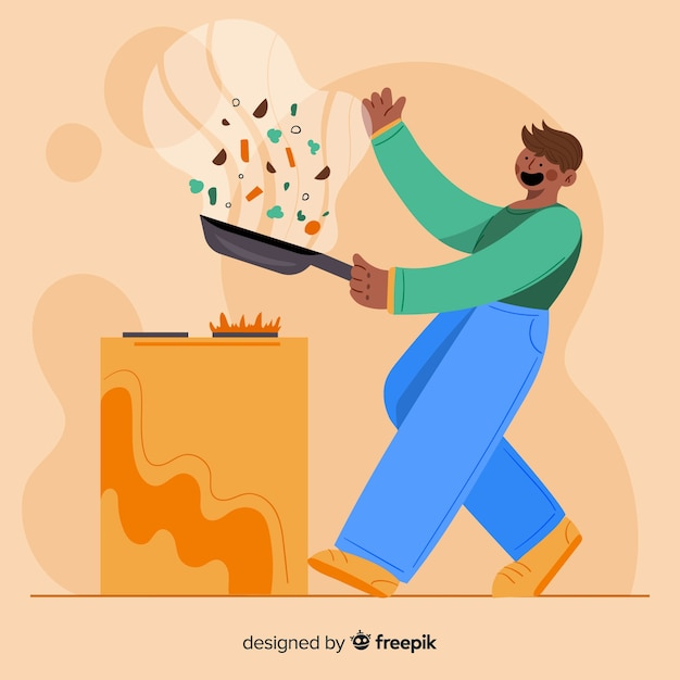 Man cooking Free Vector