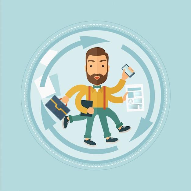 Man coping with multitasking Premium Vector