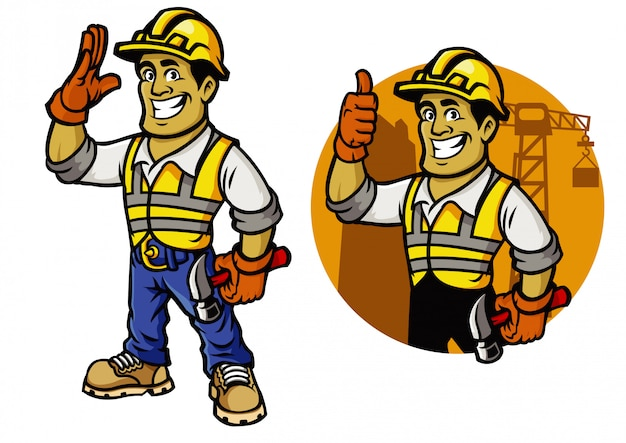 Man of counstruction worker mascot set Premium Vector