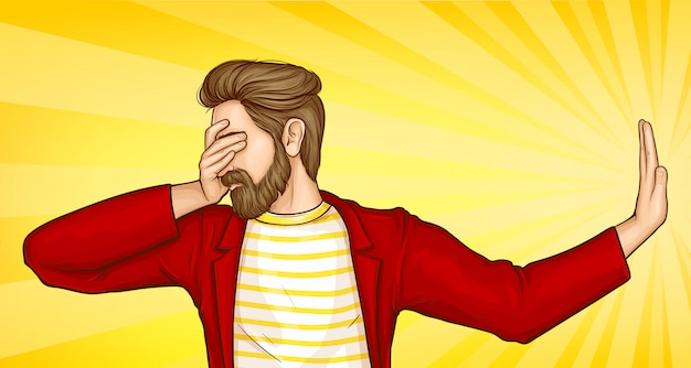 Man covering eyes with hand and doing stop gesture Free Vector