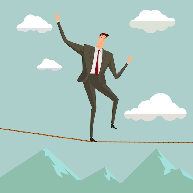 The man in crisis walking in balance on rope over blue sky. Premium Vector