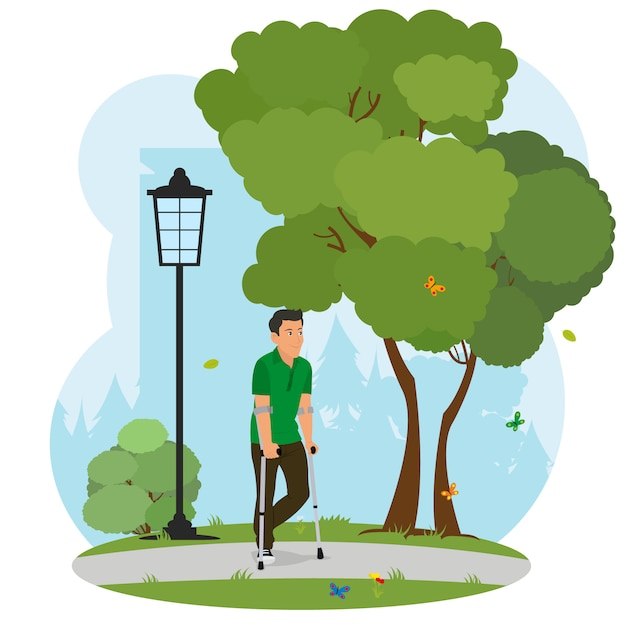 Man on crutches walking in the park on nature. Premium Vector