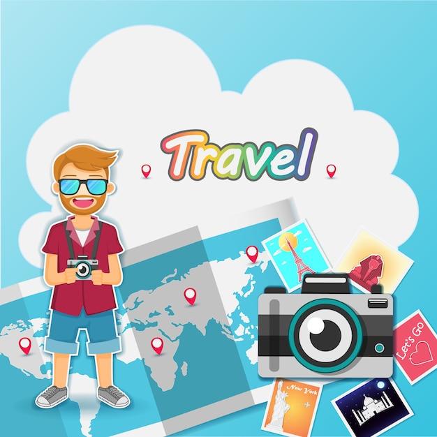 Man cute cartoon traveler on blue background Premium Vector
