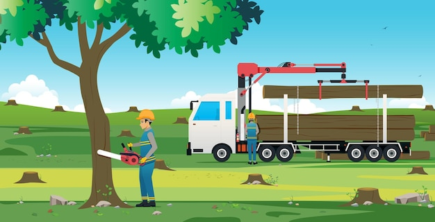 Man cutting tree using electric saw with tree truck Premium Vector