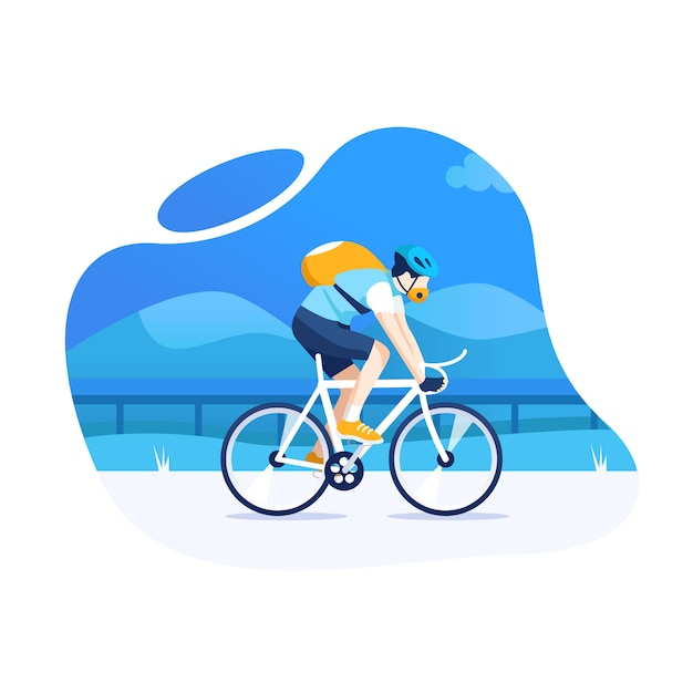 Man cycling with a mountain trail Premium Vector