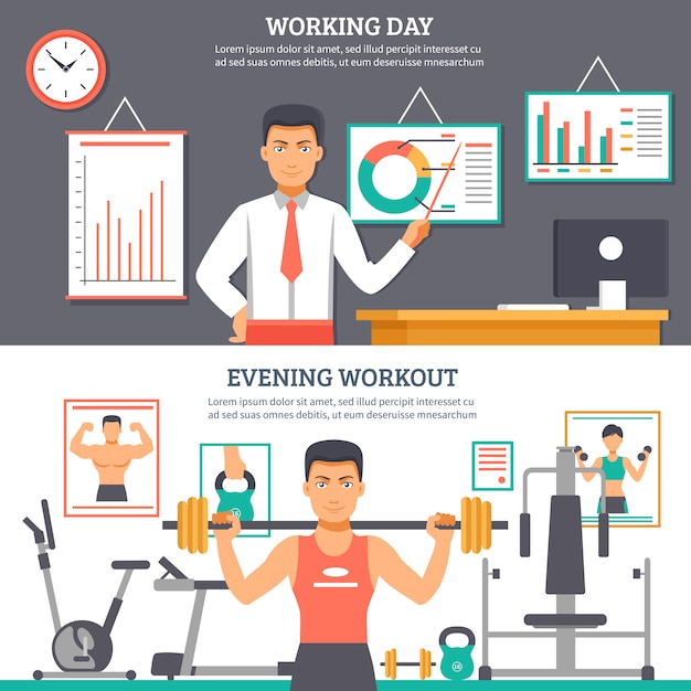 Man daily routine banner set Free Vector