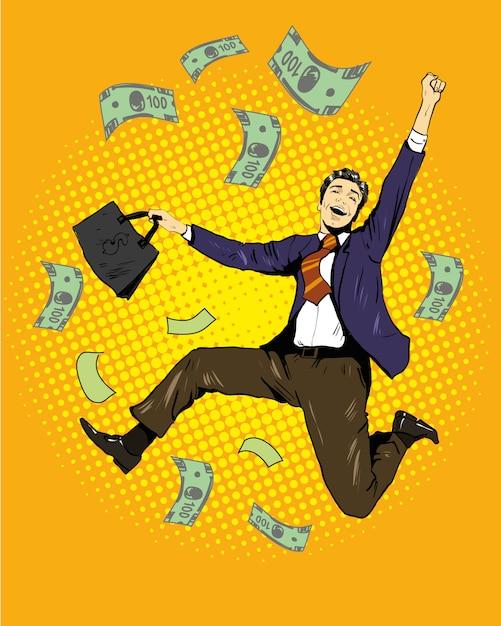 Man dancing with money flying around Premium Vector